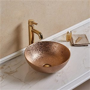 American Imaginations Vessel Bathroom Sink - Round Shape - 16.34-in - Bronze