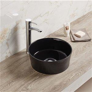 American Imaginations Round Bathroom Sink - 14.09-in - Black