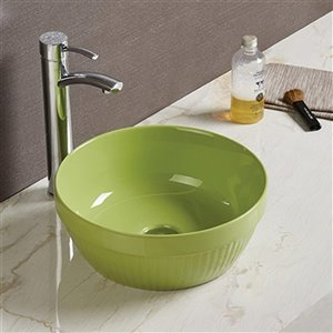 American Imaginations Vessel Bathroom Sink without Overflow Drain - Green