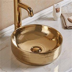 American Imaginations Vessel Bathroom Sink - Round Shape - 13.89-in - Gold