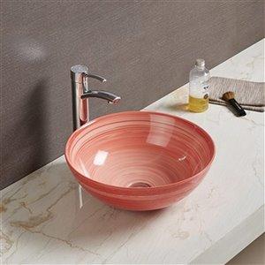 American Imaginations Vessel Bathroom Sink - Round Shape - 16.34-in x 16.34-in - Red