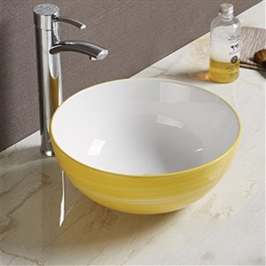 American Imaginations Vessel Bathroom Sink - Round Shape - 14.09-in x 14.09-in - Yellow/White