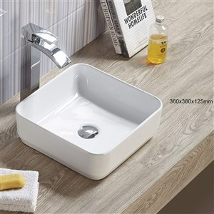 American Imaginations Vessel Bathroom Sink - Square Shape - 14.17-in - White