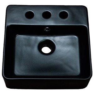 American Imaginations Square Vessel Bathroom Sink - 16-in x 16-in - Black