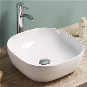 American Imaginations Square Vessel Bathroom Sink - 16.3-in x 16.3-in - White