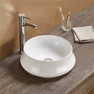 American Imaginations Round Vessel Bathroom Sink without Overflow Drain - 15.35-in - White