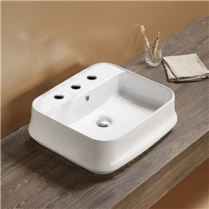 American Imaginations Vessel Bathroom Sink - Rectangular Shape - 20.9-in x 18.11-in - White