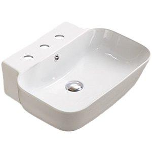 American Imaginations Vessel Bathroom Sink - Rectangular Shape - 20-in - White