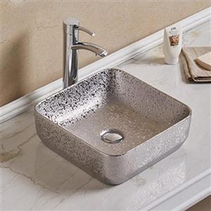American Imaginations Vessel Bathroom Sink - Square Shape - 14.2-in - Silver