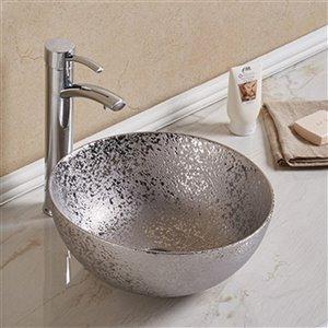 American Imaginations Vessel Bathroom Sink - Round Shape - 14.09-in - Silver