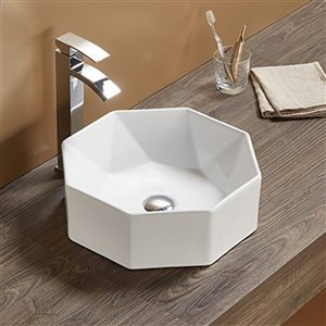American Imaginations Vessel Bathroom Sink - Round Shape - 15.35-in - White