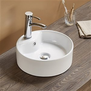 American Imaginations Vessel Bathroom Sink - Round Shape - 14.4-in x 14.4-in - White