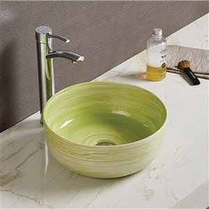 American Imaginations Bathroom Sink - Round Shape - 14.09-in - Green