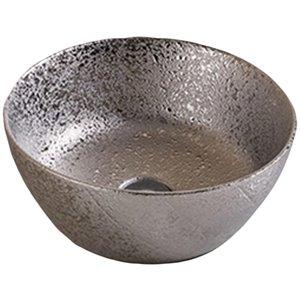 American Imaginations Vessel Bathroom Sink - Round Shape - 14.09-in x 14.09-in - Silver