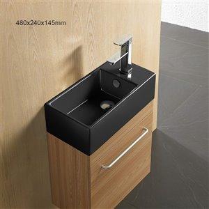 American Imaginations Vessel Bathroom Sink - Rectangular Shape - 19-in x 9.5-in - Black