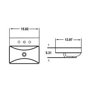 American Imaginations Vessel Bathroom Sink - Rectangular Shape - 15.82-in x 13.97-in - White