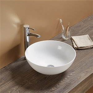 American Imaginations Vessel Bathroom Sink without Overflow - Round Shape - 14.09-in x 14.09-in - White