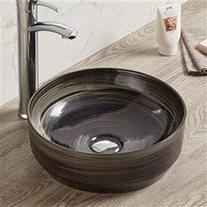 American Imaginations Vessel Bathroom Sink - Round Shape - 13.98-in x 13.98-in - Black