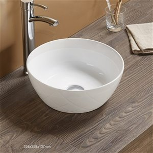 American Imaginations Round Bathroom Sink - 14.09-in - White
