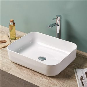 American Imaginations Vessel Bathroom Sink - Rectangular Shape - 19.7-in x 15.4-in - White