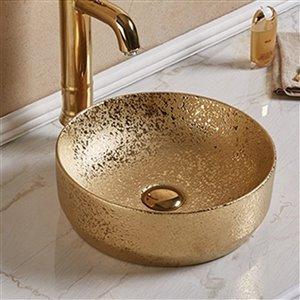 American Imaginations Vessel Bathroom Sink - Round Shape - 13.98-in - Gold