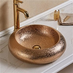 American Imaginations Vessel Bathroom Sink - Round Shape - 19.3-in x 19.3-in - Bronze