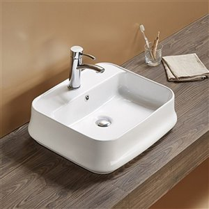 American Imaginations Rectangular Vessel Bathroom Sink - 20.9-in x 18.11-in - White