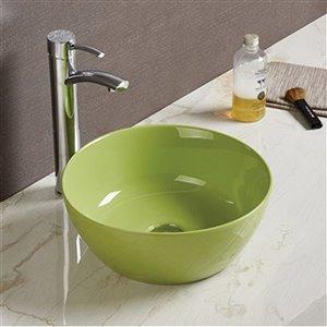American Imaginations Bathroom Sink - Round Shape - 14.09-in x 14.09-in - Green