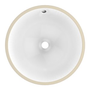 American Imaginations Undermount Bathroom Sink - Round Shape - 16.5-in x 16.5-in - White