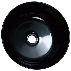 American Imaginations Vessel Bathroom Sink without Overflow - 14.09-in x 14.09-in - Black