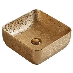 American Imaginations Vessel Bathroom Sink - Square Shape - 14.17-in - Gold