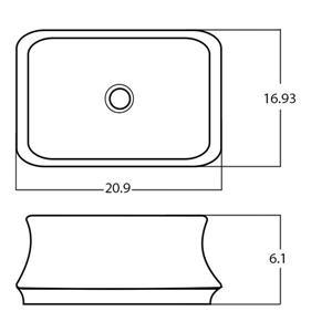 American Imaginations Rectangular Vessel Bathroom Sink - 20.9-in - White