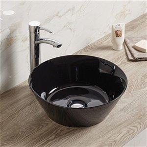 American Imaginations Vessel Bathroom Sink - Round Shape - 15.9-in - Black