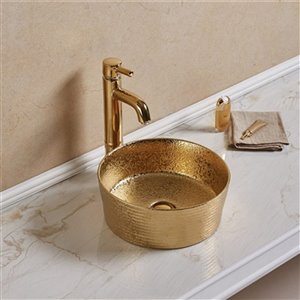 American Imaginations Round Vessel Bathroom Sink without Overflow - 14.09-in x 14.09-in - Gold
