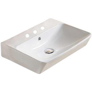 American Imaginations Vessel Bathroom Sink - Rectangular Shape - 31.49-in - White
