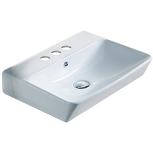 American Imaginations Vessel Bathroom Sink - Rectangular Shape - 23.81-in - White