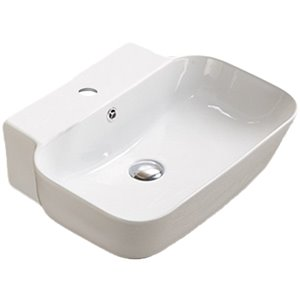 American Imaginations Vessel Bathroom Sink - Rectangular Shape - 20-in x 16.14-in - White