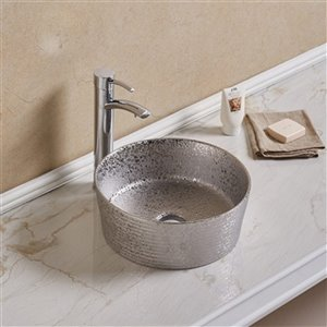 American Imaginations Round Vessel Bathroom Sink without Overflow - Silver