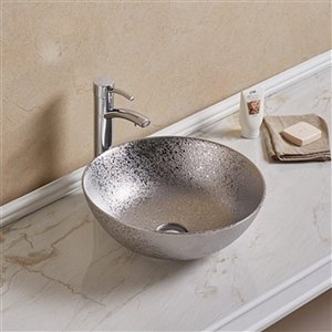 American Imaginations Vessel Bathroom Sink without Overflow - 16.34-in - Silver