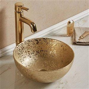 American Imaginations Vessel Bathroom Sink - Round Shape - 14.09-in - Gold