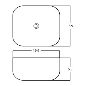 American Imaginations Vessel Bathroom Sink - Rectangular Shape - 19.9-in - White