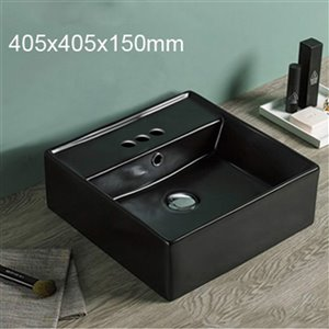 American Imaginations Vessel Bathroom Sink - Square Shape - 16-in x 16-in - Black