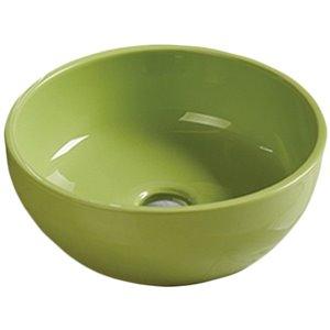 American Imaginations Vessel Bathroom Sink - Round Shape - 16.14-in x 16.14-in - Green
