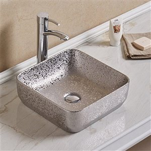 American Imaginations Vessel Bathroom Sink - Square Shape - 14.17-in - Silver