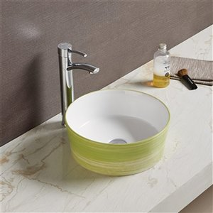 American Imaginations Round Vessel Bathroom Sink - 14.09-in - Green/White