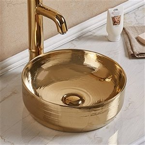 American Imaginations Vessel Bathroom Sink - Round Shape - 13.89-in x 13.89-in - Gold