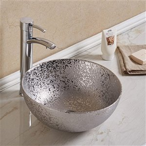 American Imaginations Round Vessel Bathroom Sink - 14.09-in - Silver