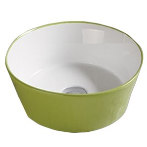 American Imaginations Vessel Bathroom Sink without Overflow - 14.09-in - Green/White