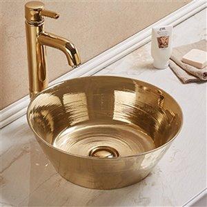 American Imaginations Vessel Bathroom Sink - Round Shape - 15.94-in - Gold