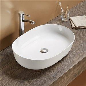 American Imaginations Vessel Bathroom Sink - Oval Shape - 23.62-in - White